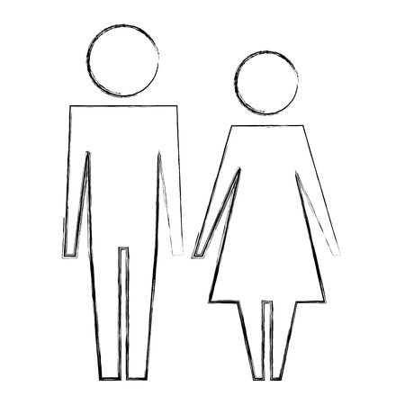 couple man and woman standing pictogram vector illustration hand drawing