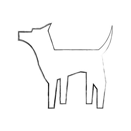 dog standing pet pictogram design vector illustration hand drawing Standard-Bild - 107539435
