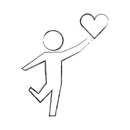 little boy holding love heart healthcare vector illustration hand drawing Illustration
