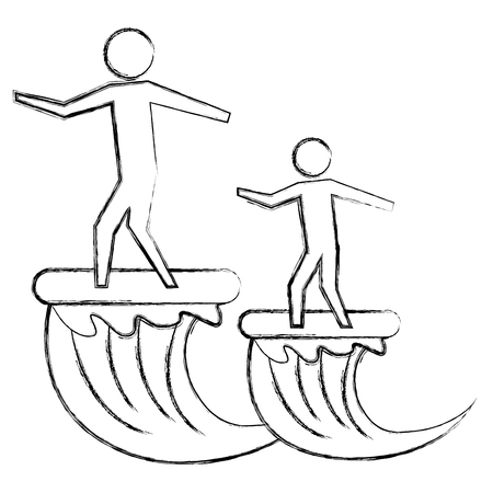 father and son on surfboard sea pictogram vector illustration hand drawing