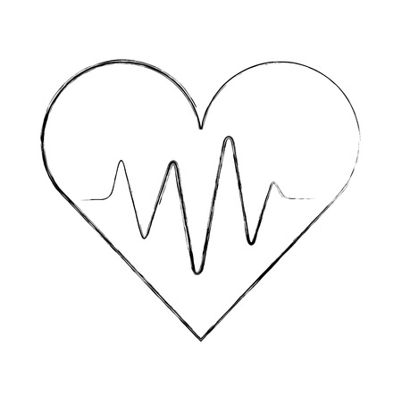 medical heart beat pulse rhythm cardio vector illustration hand drawing Çizim