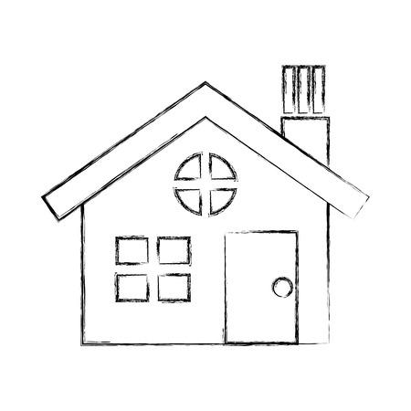 maison maison architecture pictogramme design illustration vectorielle dessin à la main