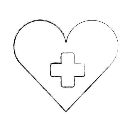 medical heart cross hospital symbol vector illustration hand drawing