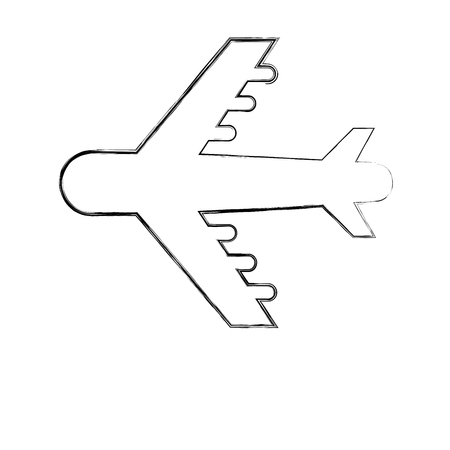 airplane transport pictogram isolated image vector illustration hand drawing Foto de archivo - 110420119