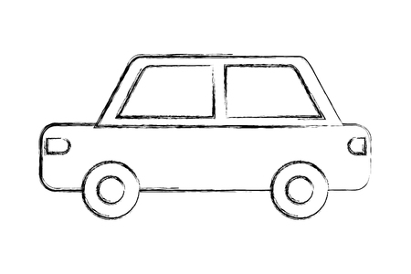 car vehicle transport pictogram isolated image vector illustration hand drawing