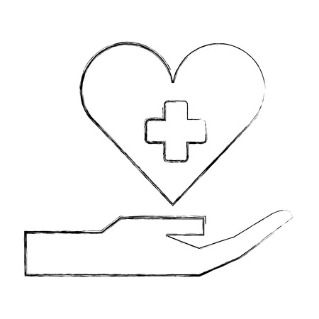 hand holding heart medical healthcare vector illustration hand drawing Ilustracja
