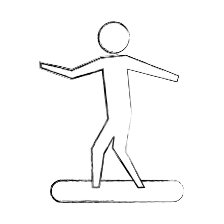 man riding on surfboarding pictogram design vector illustration hand drawing