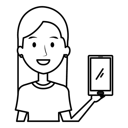 young woman using smartphone vector illustration design