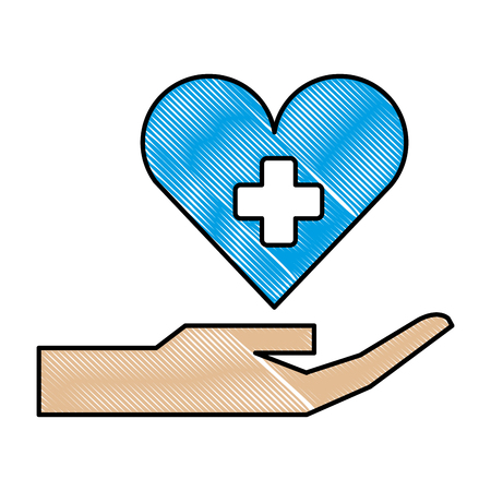hand with medical heart and cross symbol vector illustration design