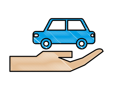 hand with car sedan isolated icon vector illustration design