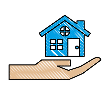 hand with house building icon vector illustration design 向量圖像
