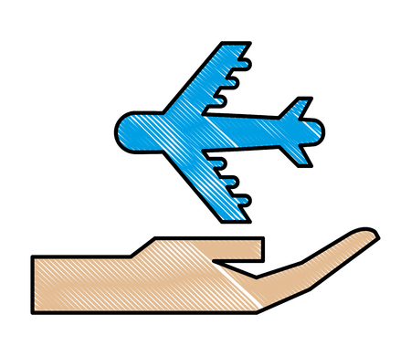 hand with airplane isolated icon vector illustration design