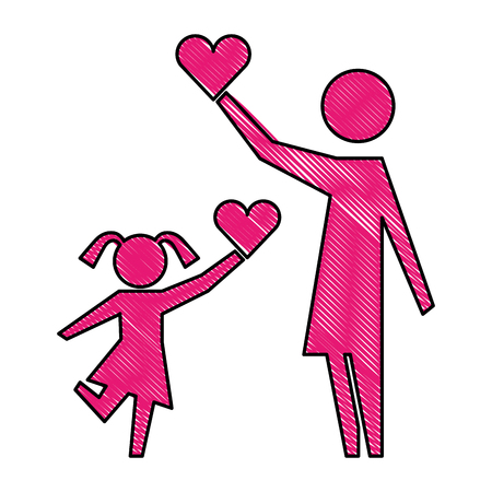 mother and daughter with hearts silhouette icon vector illustration design