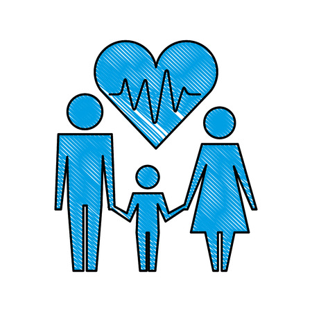 parents with son and heart silhouette isolated icon vector illustration design