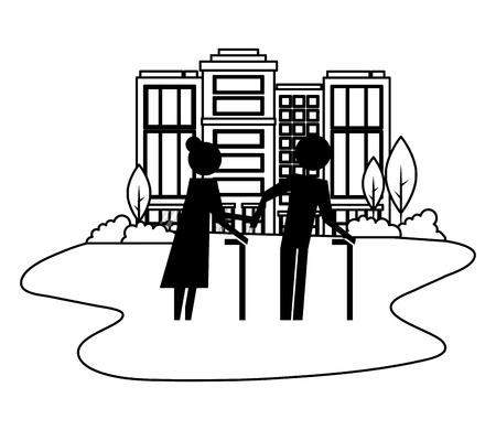 grandparents couple in cityscape avatars silhouettes vector illustration design