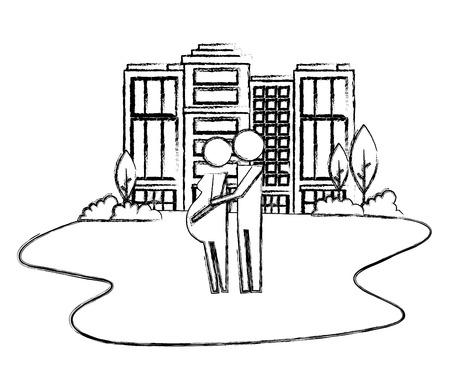 parents couple pregnancy in cityscape vector illustration design Illustration