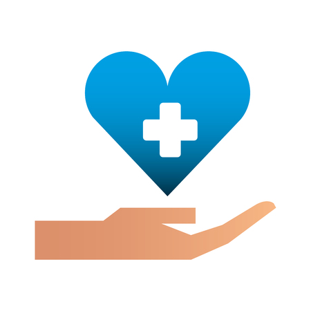 hand with medical heart and cross symbol vector illustration design Banque d'images - 110420244