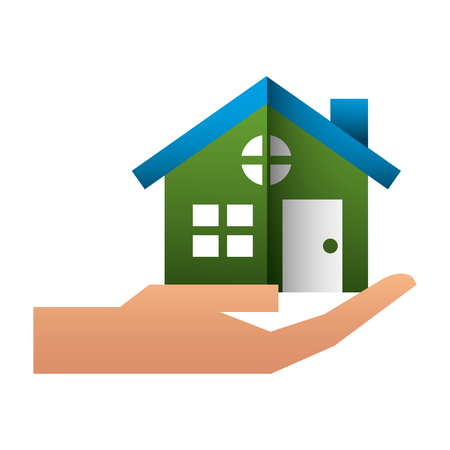 hand with house building icon vector illustration design Ilustração