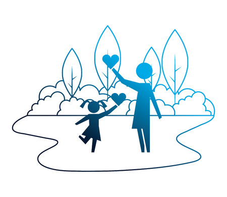 mother and daughter with hearts in landscape vector illustration design Illustration