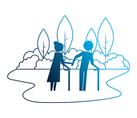 grandparents couple in landscape avatars silhouettes vector illustration design