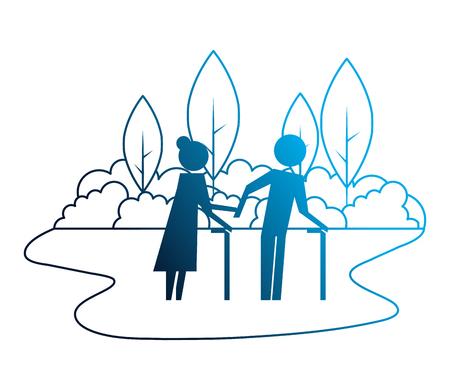 grandparents couple in landscape avatars silhouettes vector illustration design