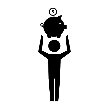 man pictogram holding piggy bank with coin vector illustration Ilustração