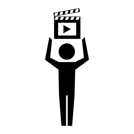 man pictogram film movie clapper board vector illustration  イラスト・ベクター素材