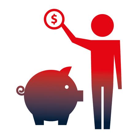 Hombre sujetando una moneda de un dólar con la ilustración de vector de pictograma de alcancía neón