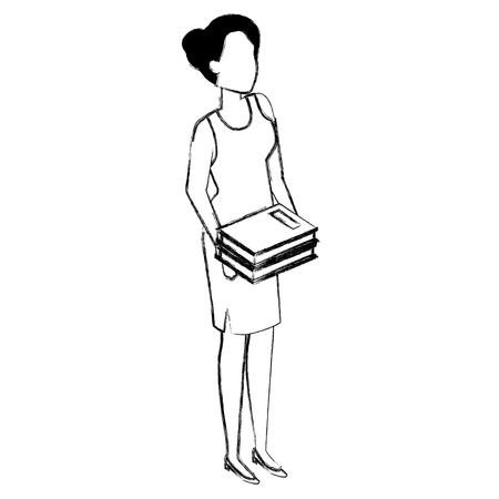 woman with text books vector illustration design Ilustração