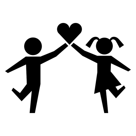 young boy and girl with heart healthcare vector illustration Stock Illustratie