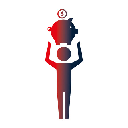 man pictogram holding piggy bank with coin vector illustration neon Banque d'images - 107541189