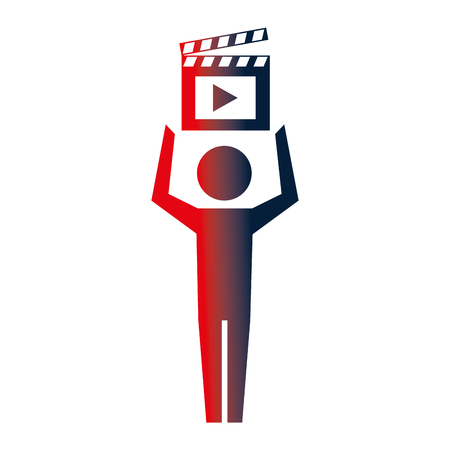 man pictogram film movie clapper board vector illustration neon  イラスト・ベクター素材