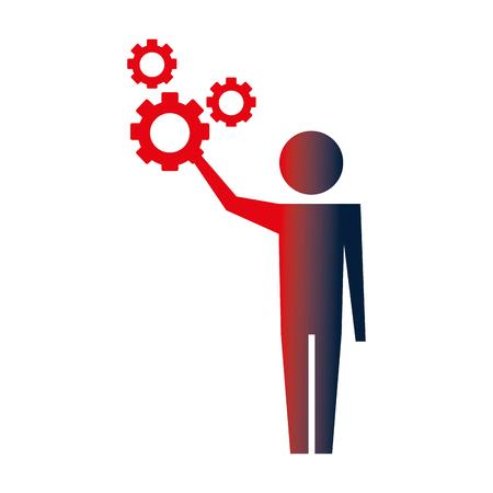man pictogram with gears mechanic wheels vector illustration neon Vektorové ilustrace