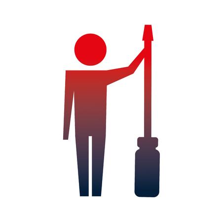 man pictogram with screwdriver tool support vector illustration neon Ilustração