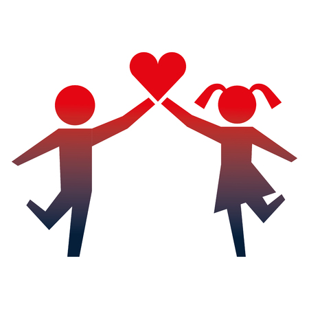 young boy and girl with heart healthcare vector illustration neon