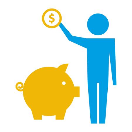 uomo che tiene in mano una moneta da un dollaro con l'illustrazione vettoriale del pittogramma salvadanaio