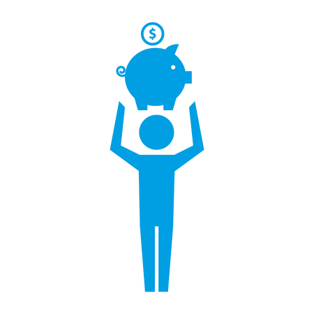 Pictograma de hombre sosteniendo hucha con ilustración de vector de moneda