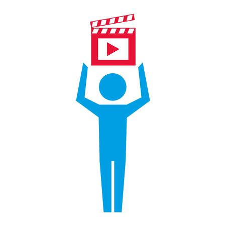 man pictogram film movie clapper board vector illustration Illustration