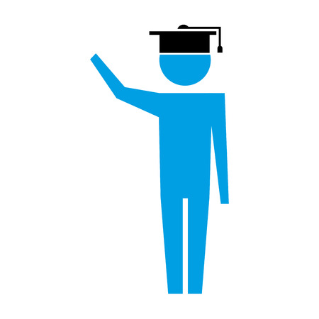 man pictogram with graduation hat education vector illustration