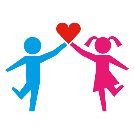 young boy and girl with heart healthcare vector illustration
