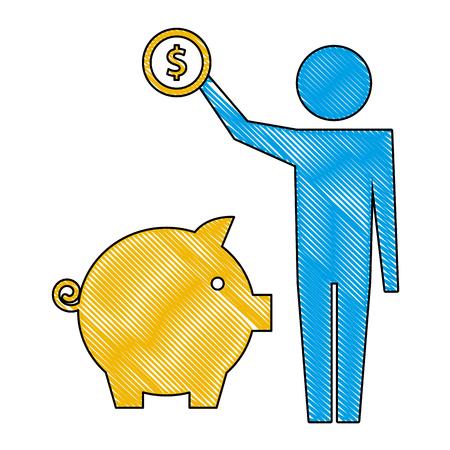 Homme tenant une pièce d'un dollar avec tirelire pictogramme vector illustration dessin à la main Vecteurs