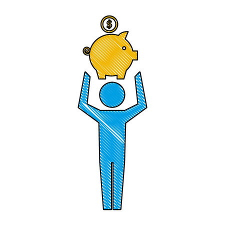 man pictogram holding piggy bank with coin vector illustration 版權商用圖片 - 110420333