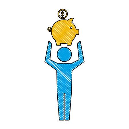 pictogramme homme tenant tirelire avec illustration vectorielle pièce