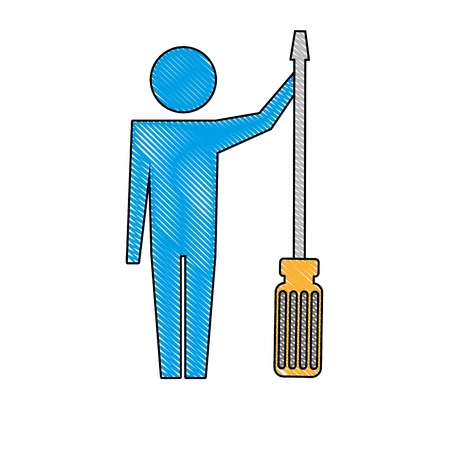 man pictogram with screwdriver tool support vector illustration