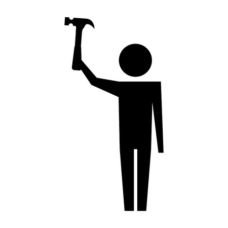 man pictogram holding hammer tool repair vector illustration