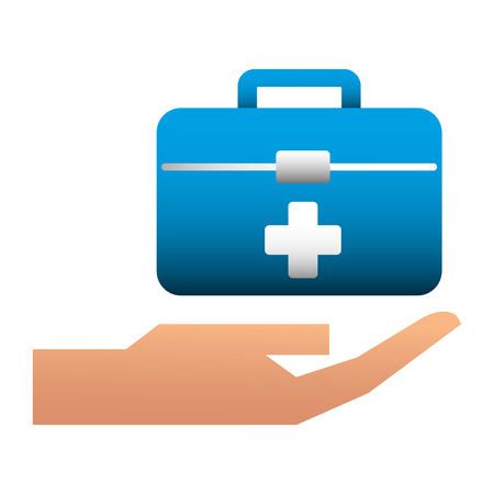 hand with kit medical isolated icon vector illustration design