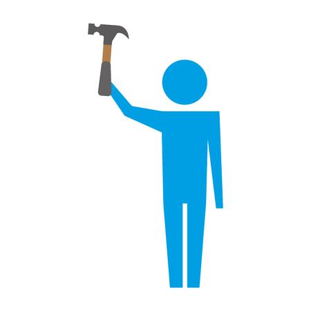 man pictogram holding hammer tool repair vector illustration