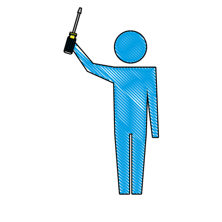 man pictogram holding screwdriver tool object vector illustration