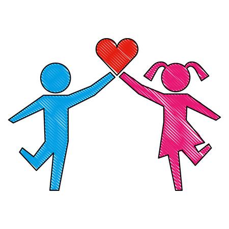 young boy and girl with heart healthcare vector illustration Illusztráció