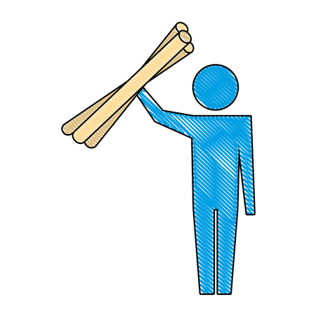 man pictogram worker with blueprints work vector illustration Ilustracja